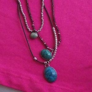925 beautiful leather necklace turquoise stones